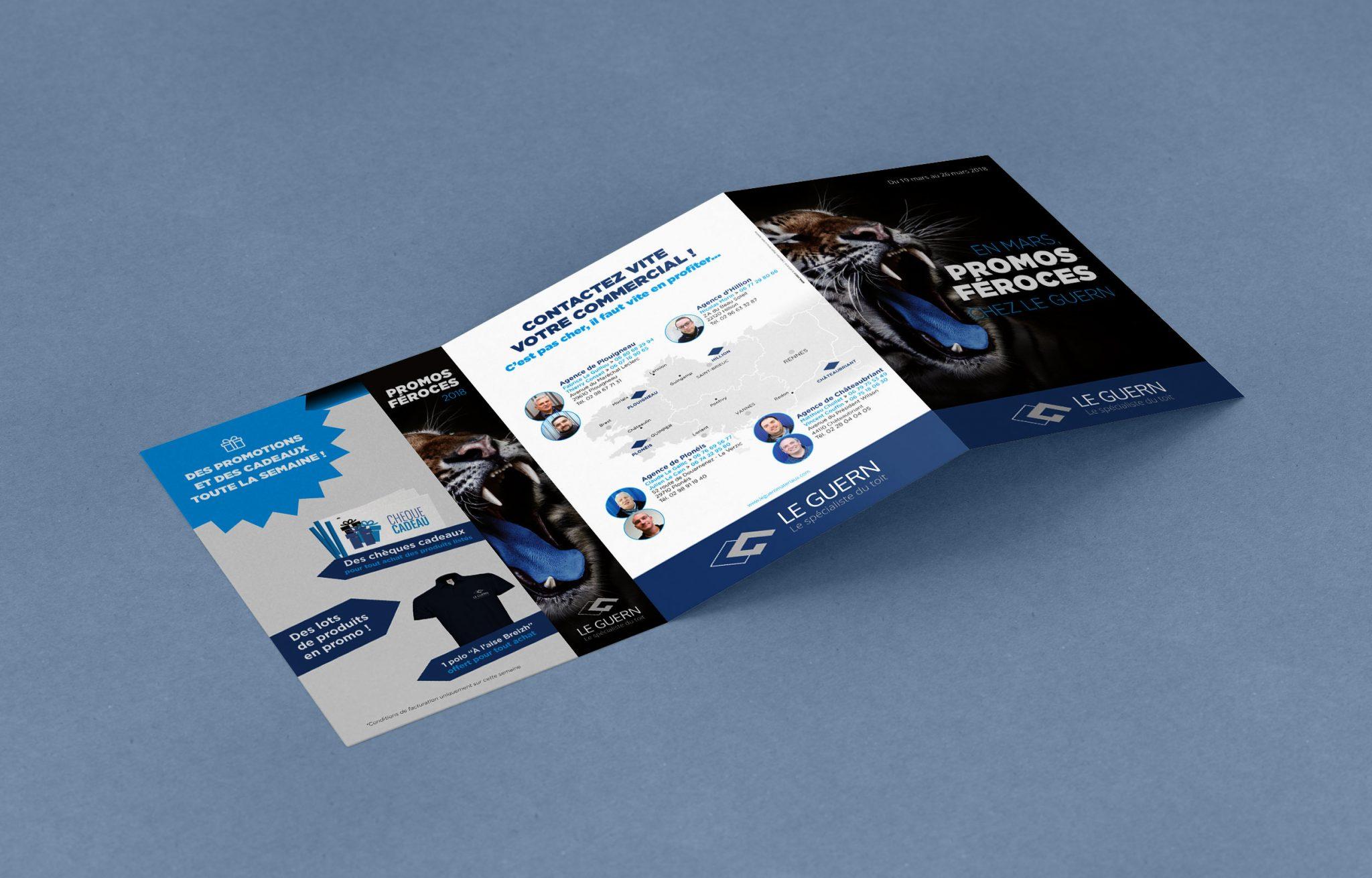 Publicité 3 volets A5 mailing féroce Entreprise Morlaix Le Guern Matériaux