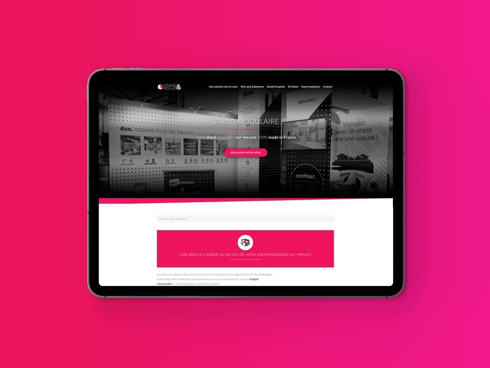 Vue tablette resposnive création site internet dédié au display et au stand modulaire