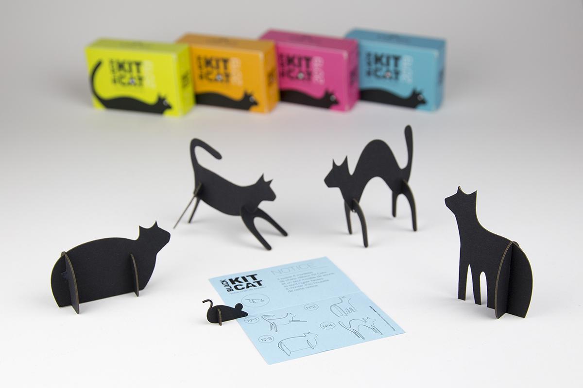 4 chats à monter pour une carte de vœux