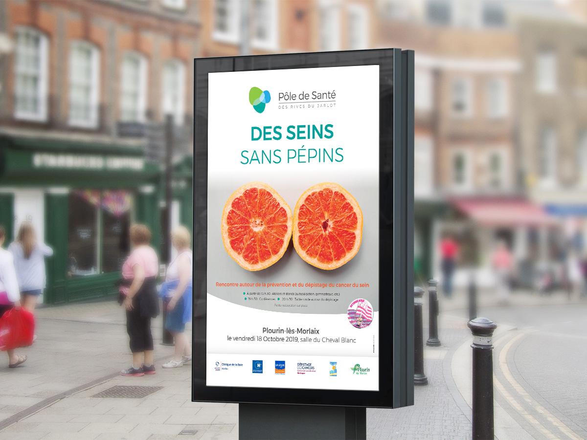 Affichage de rue pour la lutte contre le cancer du sein
